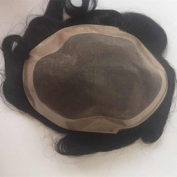 Human Hair Toupee for Men Mono Top with PU Skin ar...</>