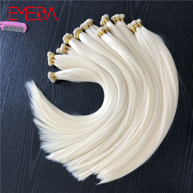 Light blonde hand tied virgin cuticle hair weft ha...</>